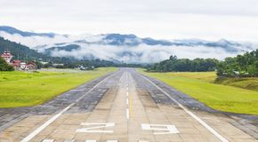 Mae Hong Son, Thailand January 18, 2018 : Airport runway in the morning sunrise time.  stock photos