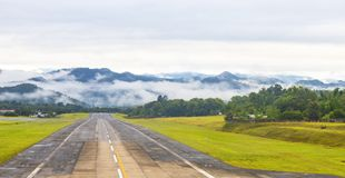 Mae Hong Son, Thailand January 18, 2018 : Airport runway in the morning sunrise time.  stock images
