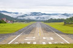 Mae Hong Son, Thailand January 18, 2018 : Airport runway in the morning sunrise time.  stock photography