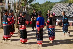 People of the Lahu Muser hill tribe perform music and dance in Mae Hong Son, Thailand. Mae Hong Son, Thailand - November 15, 2008: Unidentified people of the stock photography