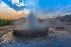 Mae Kajan Hot Spring at Wiang Pa Pao Chiang Rai Thailand. Sunset above Mae Kajan Hot Spring at Wiang Pa Pao Chiang Rai Thailand. have hotspring pools both side Stock Photo