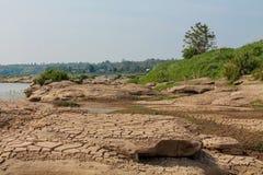 Mae Khong-Flussbank an Thailand- und Laos-Grenze Stockbild