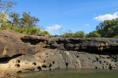 Mae Khong-Flussbank an Thailand- und Laos-Grenze Stockfotografie