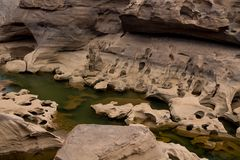 Mae Khong riverbed dry canyon. Mae Khong riverbed at Sam Phan Bok canyon in Thailand. rock holes scattered all over the river bank in different shapes Royalty Free Stock Photography