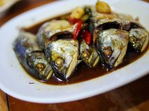 mae klong mackerels with sweet sauce in Thai style Royalty Free Stock Images