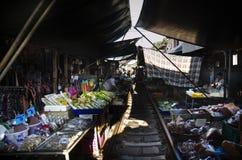Mae klong Railway Market or Talat Rom Hup in Samut Songkhram, Thailand Royalty Free Stock Photos