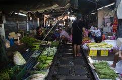 Mae klong Railway Market or Talat Rom Hup in Samut Songkhram, Thailand Stock Photography