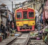 Maeklong Railway Market. Mae Klong Thailand: 7 June 2017: Tourists are visiting the Maeklong Railway Market, a local market commonly called Siang Tai life royalty free stock photos