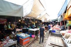 Mae Klong train marrket, Thailand Royalty Free Stock Image