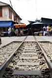 Mae Klong train marrket, Thailand Stock Images