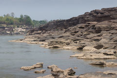 Mae Kong river and scoured stone Stock Photo