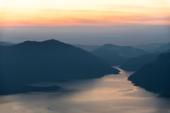 Mae Ping river view point. Mountain and lake at sunrise Stock Image