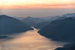 Mae Ping river view point. Mountain and lake at sunrise Royalty Free Stock Photos