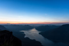 Mae Ping river view point. Sunrise above the lake and mountain Royalty Free Stock Photography