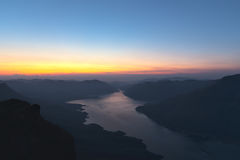 Mae Ping river view point. Sunrise above the lake and mountain Stock Photo