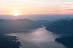 Mae Ping river view point. Sunrise above the lake and mountain Stock Photos