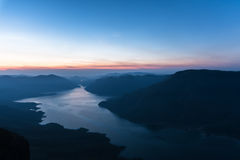 Mae Ping river view point. Sunrise above the lake and mountain Royalty Free Stock Photo