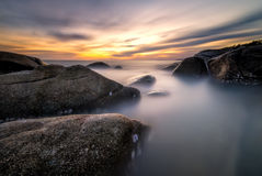 Mae Rumphueng Beach Rayong. Photograph  long exposure in Rayong Stock Images