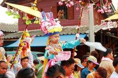 Maehongson Tailandia de Pai El Poi cantó festival largo 3 Apirl 2016 Fotografía de archivo libre de regalías