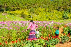 MAEHONGSON, TAILANDIA - 11 NOVEMBRE:: Donna non identificata e childs di A fotografia stock