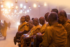 MAEHONGSON THAILAND - 22,2017 JANUARI: Thaise boeddhistische monniksochtend D Royalty-vrije Stock Foto's