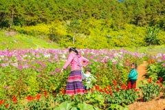 MAEHONGSON THAILAND - NOVEMBER 11:: Oidentifierad a-kvinna och childs arkivbild