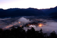 Maehongson town  under fog Stock Photo