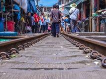 Maeklong-Markt, Samutsongkram, Thailand Stockfotos