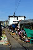 Maeklong railway market, Thailand Royalty Free Stock Images