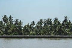 Maeklong river near Amphawa floating market, The river and sky T Royalty Free Stock Photos