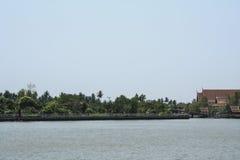 Maeklong river near Amphawa floating market, The river and sky T Stock Photography