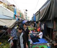MAEKLONG, THAILAND-DECEMBER 11,2016 : The famous railway market or folding umbrella market at Maeklong, Thailand, A famous market Royalty Free Stock Photos