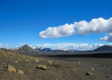 Maelifellsandur火山的黑沙子沙漠风景有Tindafjallajokull冰川和天空蔚蓝的,在高地的夏天  免版税库存图片