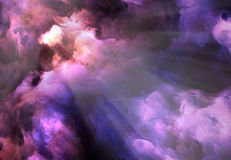 Maelstrom Storm Painting. Surreal, vivid, dark purple and red storm clouds swirl and billow around a brilliant gap through which light rays stream Stock Photography