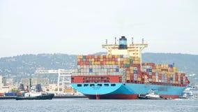 Maersk ładunku statek GRETE MAERSK wchodzić do port Oakland Obrazy Royalty Free