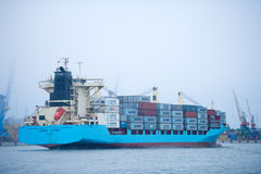 MAERSK Container Ship BOMAR VICTORY in Klaipeda harbour Stock Image