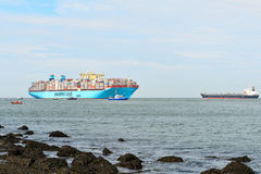 Maersk Mc-Kinney moller container ship Royalty Free Stock Photos