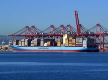 Maersk Ship on Pacific Ocean Stock Image