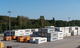 Maersk shipping containers in Gdansk, Poland Stock Photography