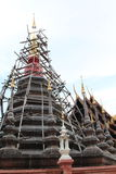 Maesariang Museum. Under construction chedi in Wat Pan Tao, Chiangmai, Thailand Royalty Free Stock Images