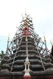 Maesariang Museum. Under construction chedi in Wat Pan Tao, Chiangmai, Thailand Royalty Free Stock Image