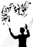 Maestro. A silhouette illustration of the director of a choir with baton in his hand royalty free illustration