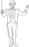 Maestro. High contrast line art drawing Royalty Free Stock Image