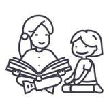Maestro de jardín de infancia, libro de lectura de la mujer a la línea icono, muestra, ejemplo del vector de la muchacha en el fo ilustración del vector