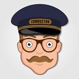Maestro de trem Cartoon Face com vidros ilustração royalty free