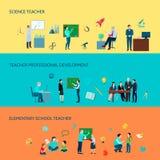 Maestro di scuola Flat Banners Set Fotografia Stock