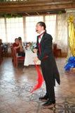 Maestro magician illusionist does show on the interior design scene. Stock Photo