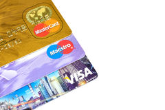 Maestro and MasterCard and Visa. The Maestro and MasterCard and Visa in China Stock Image