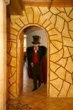 Maestrotrollkarlillusionisten visar på platsen för inredesignen Royaltyfria Foton