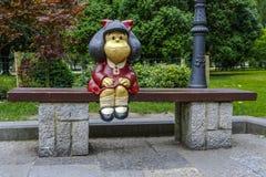 Mafalda Sculpture i San Francisco Park i Oviedo Royaltyfria Bilder